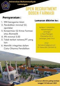 Lowongan Dosen: Farmasi Universitas Muhammadiyah Lamongan
